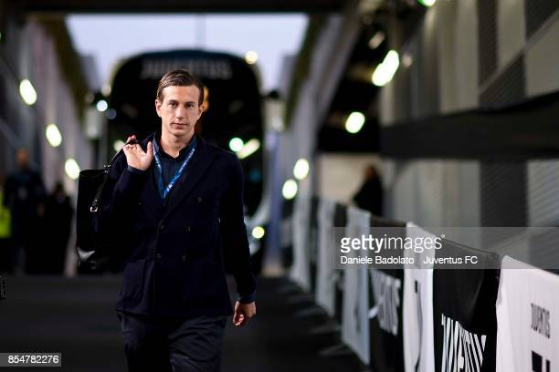 Federico Bernardeschi of Juventus arrives at Allianz Stadium before the UEFA Champions League group D match between Juventus and Olympiakos Piraeus...