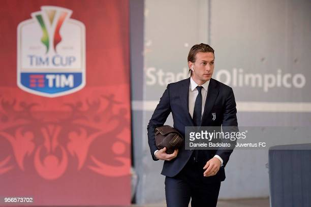 Federico Bernardeschi of Juventus arrives at the Stadium before the TIM Cup Final between Juventus and AC Milan at Stadio Olimpico on May 9 2018 in...
