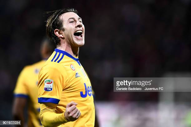 Federico Bernardeschi of Juventus celebrates 01 goal during the serie A match between Cagliari Calcio and Juventus at Stadio Sant'Elia on January 6...