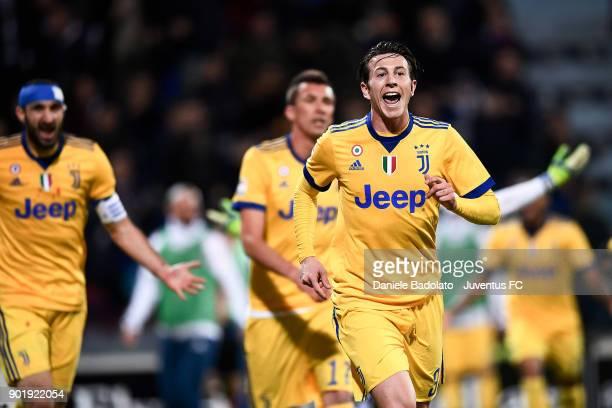 Federico Bernardeschi of Juventus celebrates 01 goal during the serie A match between Cagliari Calcio and Juventus at Stadio Sant'Elia on January 6...