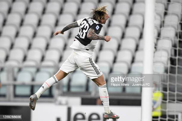 Federico Bernardeschi of Juventus celebrates after scoring his team's second goal during the Serie A match between Juventus and UC Sampdoria at...