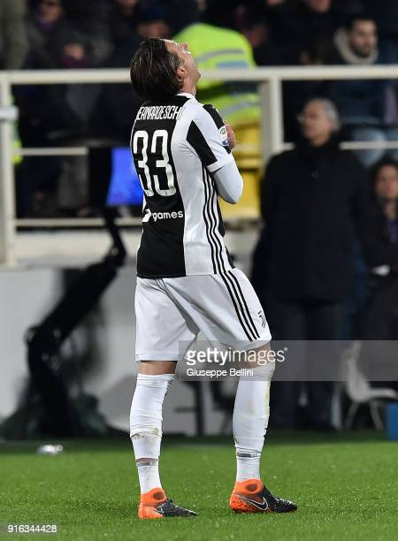 Federico Bernardeschi of Juventus celebrates after scoring the opening goal during the serie A match between ACF Fiorentina and Juventus at Stadio...