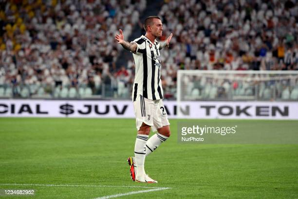 Federico Bernardeschi of Juventus celebrates after scoring the his team's second goal during to the pre-season friendly match between Juventus and...