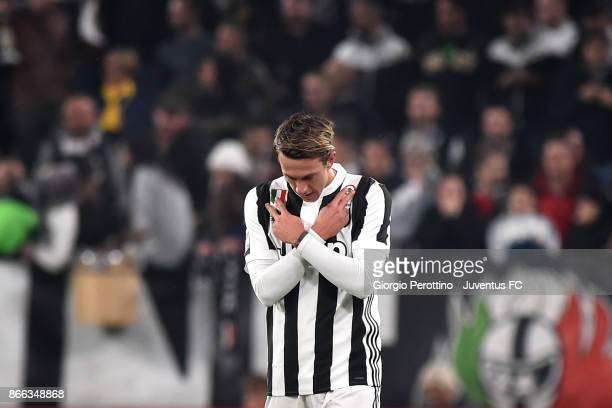 Federico Bernardeschi of Juventus celebrates his first goal during the Serie A match between Juventus and Spal on October 25 2017 in Turin Italy