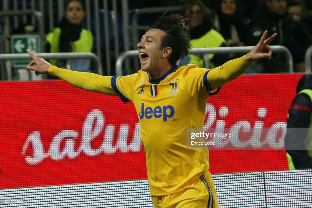 Federico Bernardeschi of Juventus celebrates his goal 0-1 during the serie A match between Cagliari Calcio and Juventus at Stadio Sant'Elia on January 6, 2018 in Cagliari, Italy.