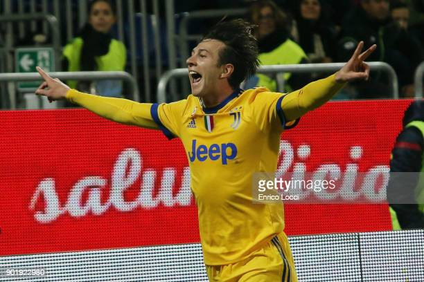 Federico Bernardeschi of Juventus celebrates his goal 0-1 during the serie A match between Cagliari Calcio and Juventus at Stadio Sant'Elia on...