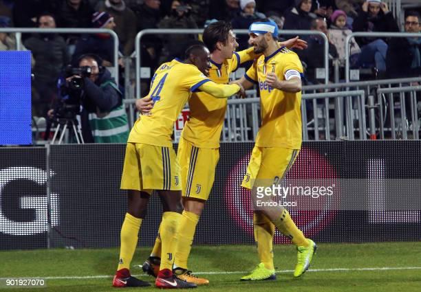 Federico Bernardeschi of Juventus celebrates his goal 01 during the serie A match between Cagliari Calcio and Juventus at Stadio Sant'Elia on January...