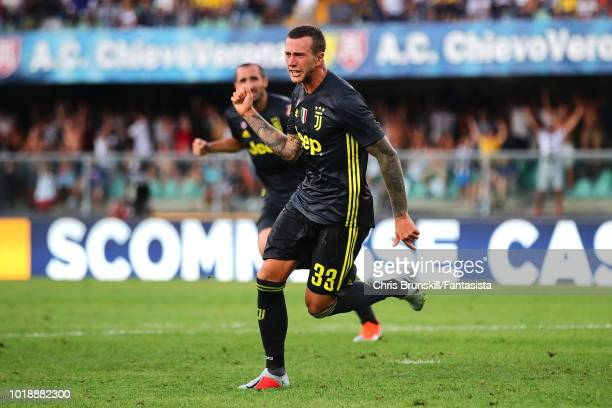 Federico Bernardeschi of Juventus celebrates scoring his side's third goal during the Serie A match between Chievo Verona and Juventus at Stadio...