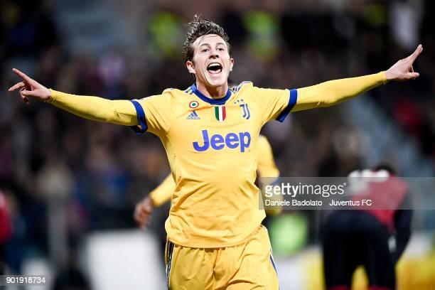 Federico Bernardeschi of Juventus celebrates the 01 goal during the serie A match between Cagliari Calcio and Juventus at Stadio Sant'Elia on January...