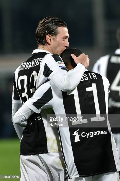 Federico Bernardeschi of Juventus celebrates the victory at the end of the Serie A match between Fiorentina and Juventus at Stadio Artemio Franchi...