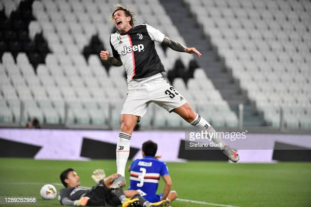 Federico Bernardeschi of Juventus FC celebrates a goal during the Serie A match between Juventus and UC Sampdoria at Allianz Stadium on July 26, 2020...