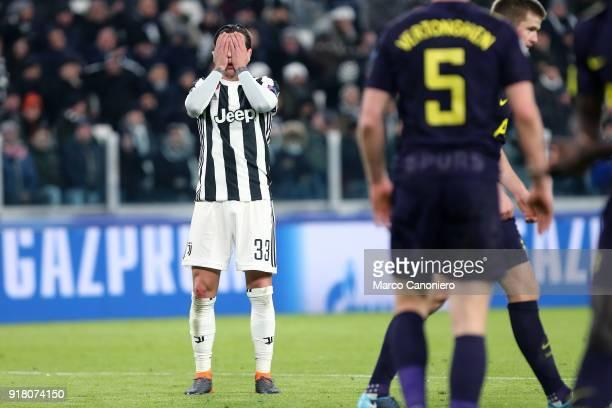 Federico Bernardeschi of Juventus FC despair during the UEFA Champions League round of 16 first leg match between Juventus FC and Tottenham Hotspur...