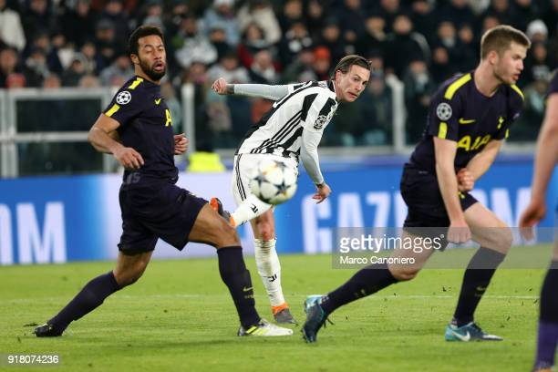 Federico Bernardeschi of Juventus FC in action during the UEFA Champions League round of 16 first leg match between Juventus FC and Tottenham Hotspur...