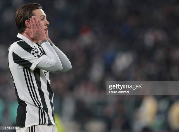 Federico Bernardeschi of Juventus FC reacts during the UEFA Champions League Round of 16 First Leg match between Juventus and Tottenham Hotspur at...