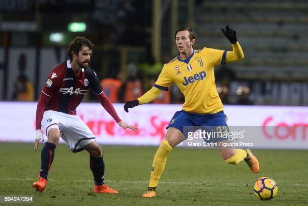 Federico Bernardeschi of Juventus in action during the Serie A match between Bologna FC and Juventus at Stadio Renato Dall'Ara on December 17 2017 in...
