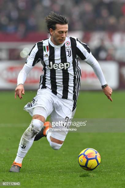 Federico Bernardeschi of Juventus in action during the Serie A match between Torino FC and Juventus at Stadio Olimpico di Torino on February 18 2018...