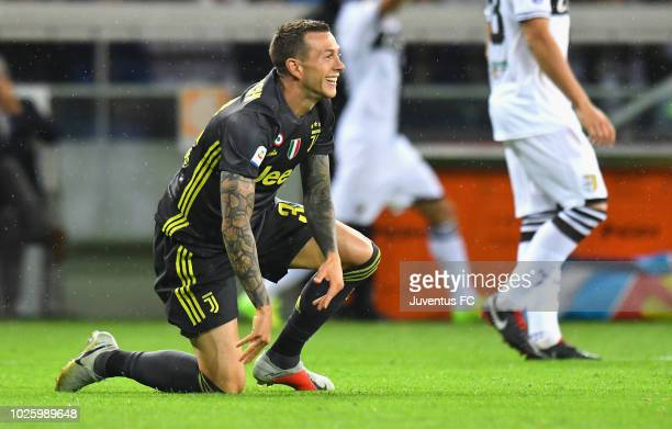 Federico Bernardeschi of Juventus reacts during the serie A match between Parma Calcio and Juventus at Stadio Ennio Tardini on September 1 2018 in...