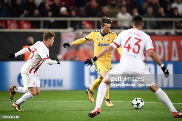 Federico Bernardeschi scores 02 goal of Juventus during the UEFA Champions League group D match between Olympiakos Piraeus and Juventus at...