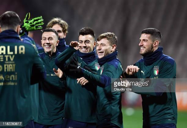 Federico Bernardeschi, Stephan El Shaarawy, Nicolo Barella and Cristiano Biraghi of Italy smile during Italy training session at Bilino Polje Stadium...