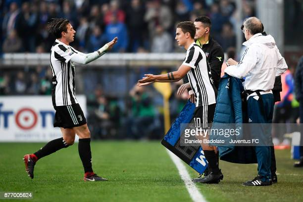 Federico Bernardeschi substituted by Paulo Dybala during the Serie A match between UC Sampdoria and Juventus at Stadio Luigi Ferraris on November 19...