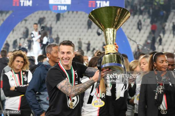 Federico Bernardeschi with the trophy of Scudetto during the victory ceremony following the Italian Serie A last football match of the season...