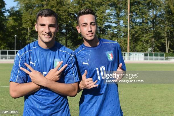 Federico Bonazzoli and Gaetano Castrovilli of Italia's national team under 20 celebrates after the match between Italy U20 and Poland U20 at Stadio...