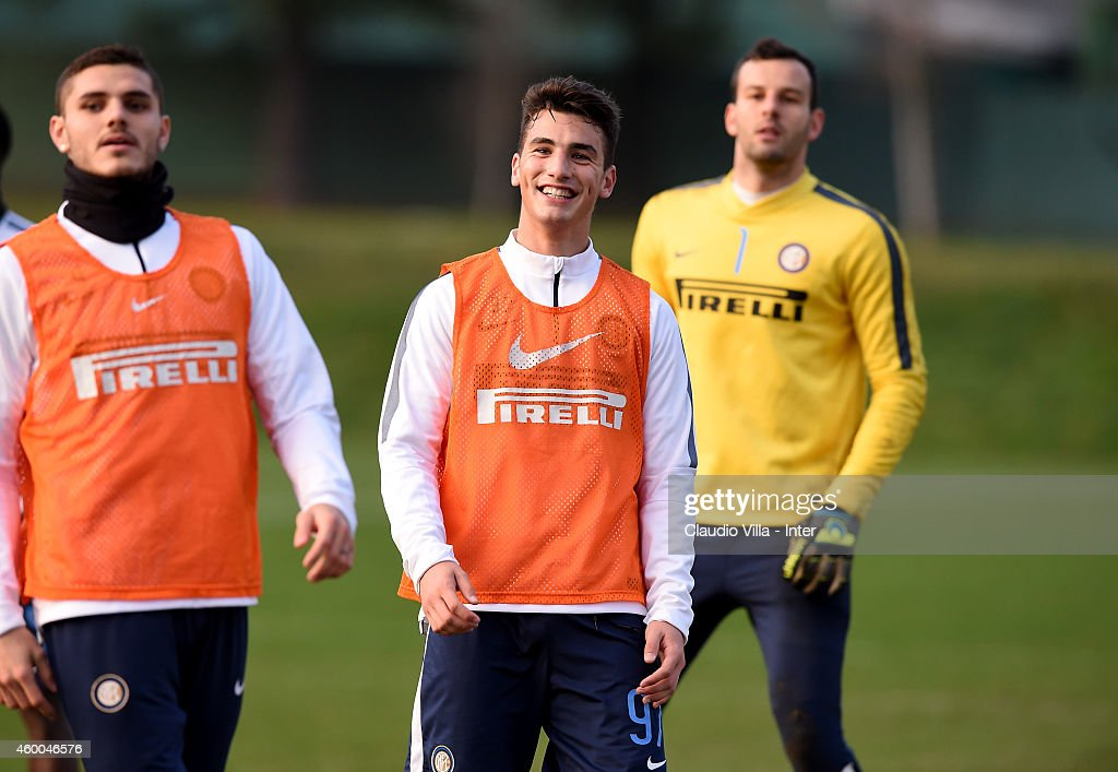 Federico Bonazzoli (C) during FC Internazionale Training Session at Appiano Gentile on December 06, 2014 in Como, Italy.
