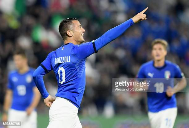 Federico Bonazzoli of Italy U21 celebrates after scoring his team third goal during the international friendly match between Italy U21 and Morocco...