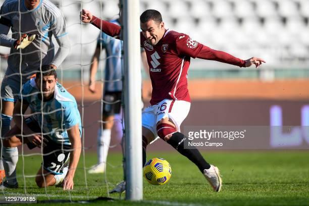 Federico Bonazzoli of Torino FC scores a goal during the Coppa Italia football match between Torino FC and Virtus Entella Torino FC won 20 over...
