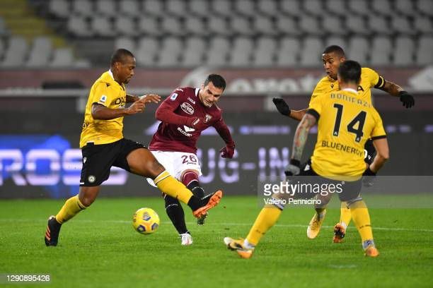 Federico Bonazzoli of Torino F.C. Scores their team's second goal during the Serie A match between Torino FC and Udinese Calcio at Stadio Olimpico di...