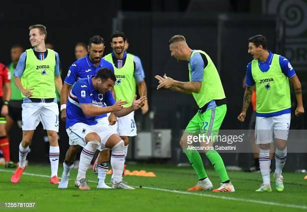 Federico Bonazzoli of UC Sampdoria celebrates after scoring his team second goal during the Serie A match between Udinese Calcio and UC Sampdoria at...