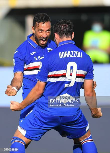Federico Bonazzoli of UC Sampdoria celebrates after scoring his team third goal during the Serie A match between Parma Calcio and UC Sampdoria at...