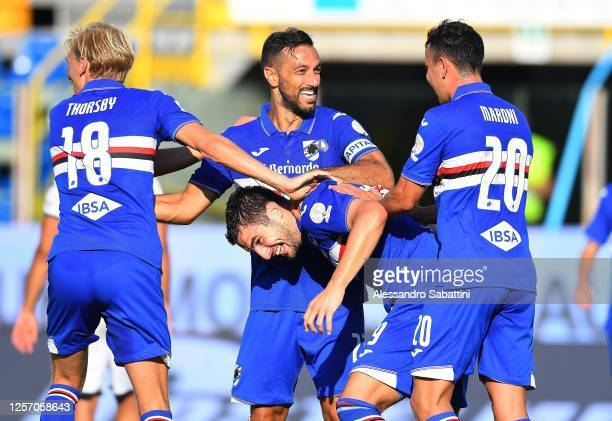 Federico Bonazzoli of UC Sampdoria celebrates after scoring his team third goal during the Serie A match between Parma Calcio and UC Sampdoria at...