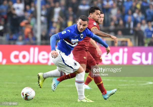 Federico Bonazzoliof UC Sampdoria and Justin Kluivert of AS Roma during the Serie A match between UC Sampdoria and AS Roma at Stadio Luigi Ferraris...