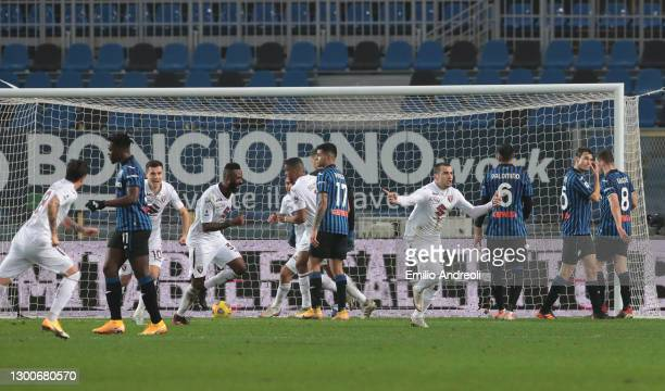Federico Bonzzoli of Torino FC celebrates after scoring their side's third goal during the Serie A match between Atalanta BC and Torino FC at Gewiss...