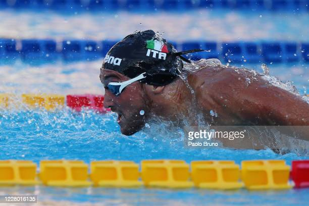 Federico Burdisso of Italy competes in the men's 200m butterfly during the 57th Settecolli 2020 international swimming trophy at Foro Italico on...