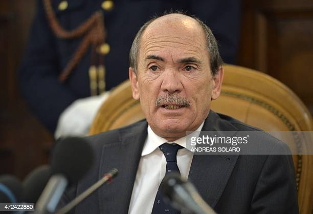 Federico Cafiero De Raho prosecutor of the Reggio Calabria courthouse speaks during a joint press conference with US Federal Bureau of Investigation...