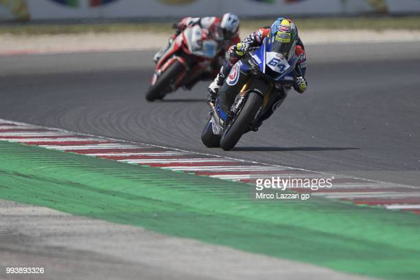 Federico Caricasulo of Italy and GRT Yamaha Official WorldSSP Team leads the field during the Supersport race during the WorldSBK Riviera di Rimini...