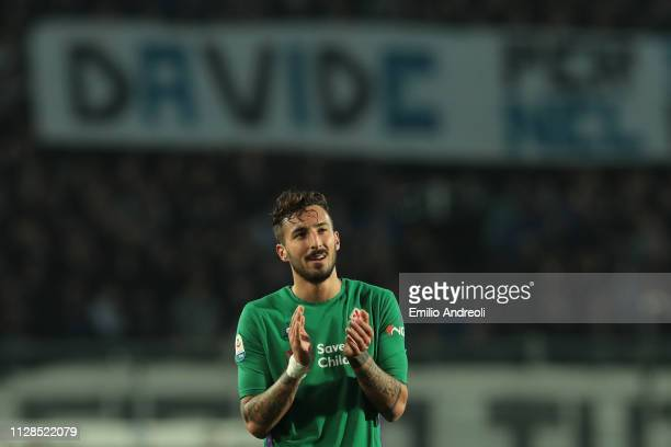 Federico Ceccherini of ACF Fiorentina pays a tribute to Davide Astori a football player of ACF Fiorentina found dead one year ago during the Serie A...