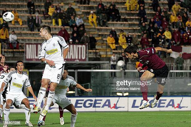 Federico Ceccherini of AS Livorno Calcio scores the opening goal during the Serie B match between AS Livorno and AC Cesena at Stadio Armando Picchi...