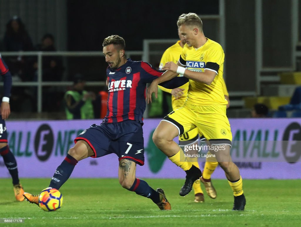 Federico Ceccherini L Of Crotone Competes For The Ball With Antonin Barak Of Udinese