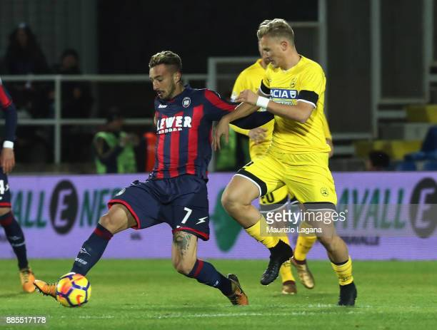 Federico Ceccherini of Crotone competes for the ball with Antonin Barak of Udinese during the Serie A match between FC Crotone and Udinese Calcio at...