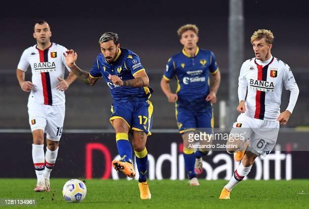 Federico Cecchirini of Hellas Verona in action during the Serie A match between Hellas Verona FC and Genoa CFC at Stadio Marcantonio Bentegodi on...