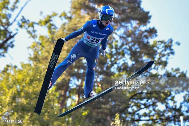 Federico Cecon of Italy competes during the FIS Grand Prix Skijumping Hinzenbach at on February 6, 2021 in Eferding, Austria.