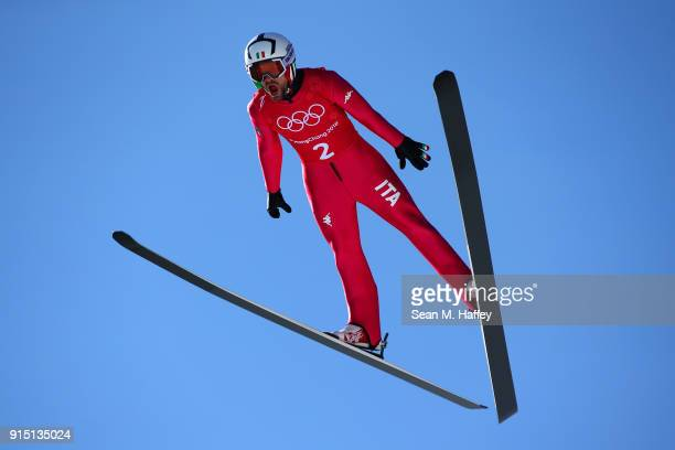 Federico Cecon of Italy makes a jump during Men's Normal Hill training ahead of the PyeongChang 2018 Winter Olympic Games at Alpensia Ski Jumping...