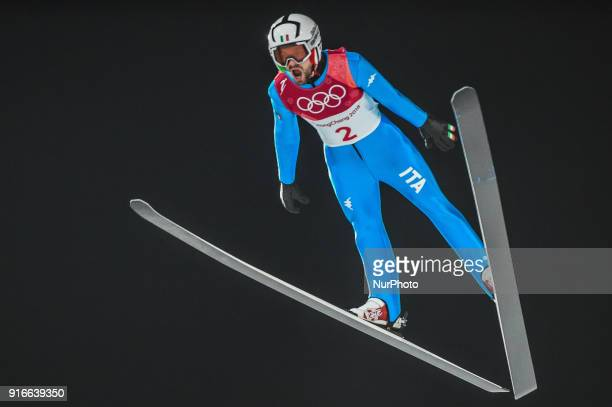 Federico Cecon of Italy at mens normal hill final at 2018 Pyeongchang winter olympics at Alpensia Ski Jumping Centre Pyeongchang South Korea on...