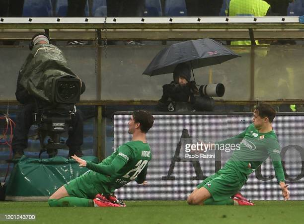 Federico Chiesa and Dusan Vlahovic of ACF Fiorenitina celebrate after goal 05 during the Serie A match between UC Sampdoria and ACF Fiorentina at...