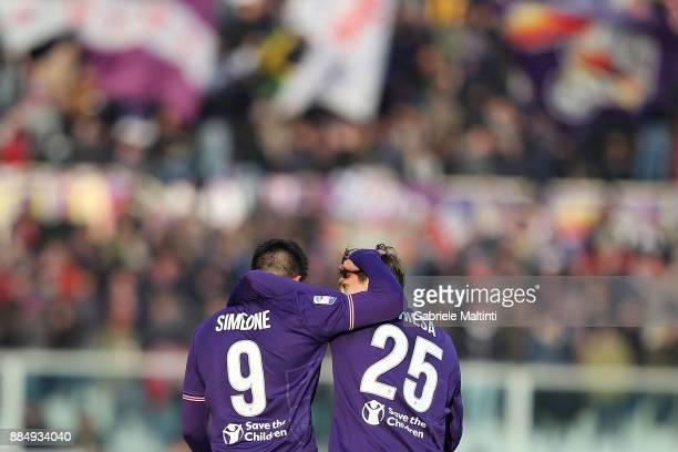 Federico Chiesa and Giovanni Simeone of ACF Fiorentina celebrates after scoring a goal during the Serie A match between ACF Fiorentina and US...