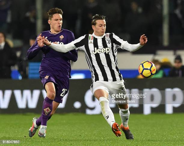 Federico Chiesa of ACF Fiorentina and Federico Bernardeschi of Juventus in action during the serie A match between ACF Fiorentina and Juventus at...