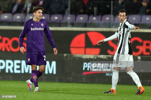 Federico Chiesa of aCF Fiorentina and Federico Bernardeschi of Juventus during the serie A match between ACF Fiorentina and Juventus at Stadio...